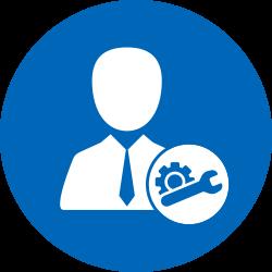 Reparatur Symbol weiss auf blau