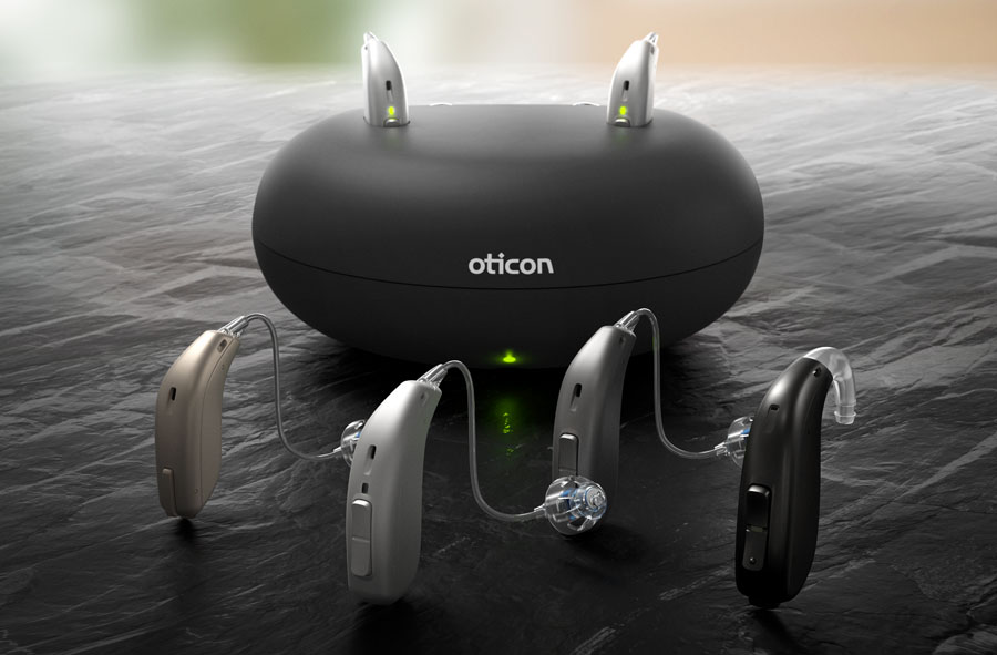 Opn S hearing aids group photo with rechargeable